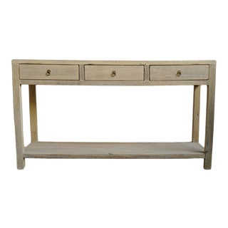 Simple Raw Elm 3 Drawer Console Table For Sale