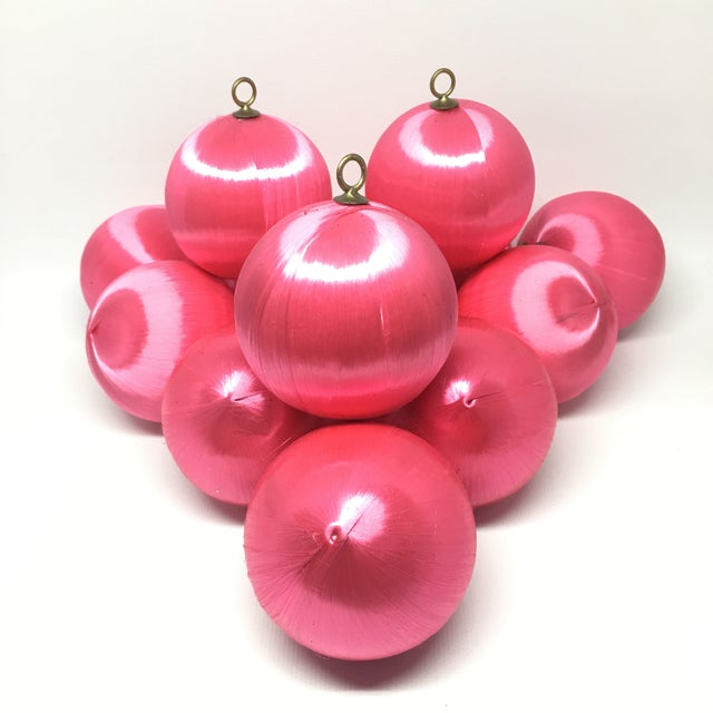 Vintage Pink Satin Silk String Christmas Ornaments Set of 24 | Chairish