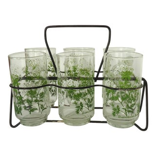 Queen Anne's Lace Glasses & Caddy - Set of 6