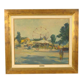 Carnival Scene Painting by Zoma Baitler For Sale
