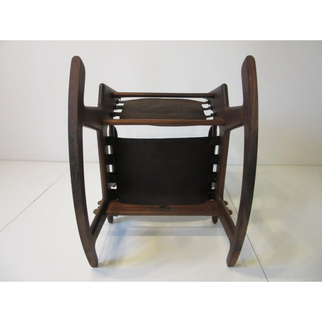 Brown Angel Pazmino Mid Century Sculptural Rosewood Rocking Chair For Sale - Image 8 of 12