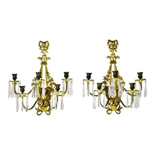 Vintage French Victorian 5 Arm Brass & Glass Prism Candelabra Wall Sconces - a Pair For Sale