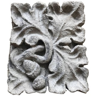 Carved Limestone Oak Leaves and Acorns Architectural Element For Sale