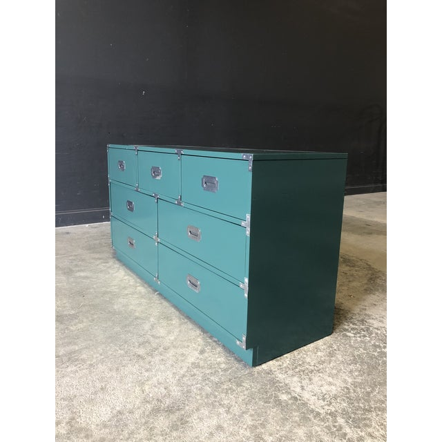 Bernhardt Green Lacquered 7 Drawer Campaign Style Chest/Dresser For Sale - Image 4 of 6