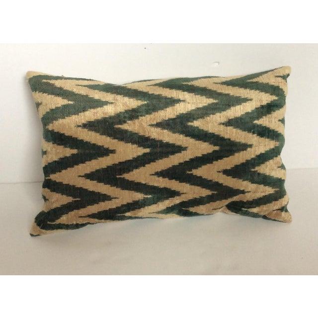 Green Silk And Velvet Ikat PIllow - Image 2 of 5