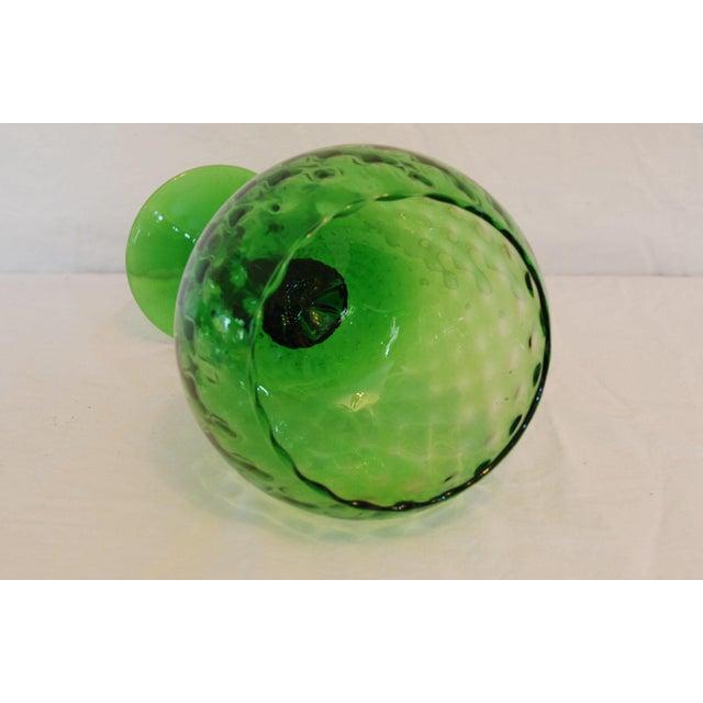 English Traditional Vintage Emerald Green Empoli Stemmed Vessel For Sale - Image 3 of 4