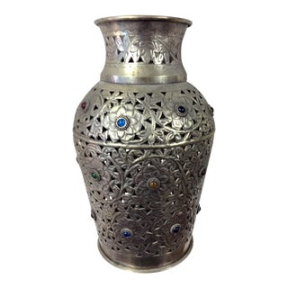 Large Riticulated Metal Vase For Sale