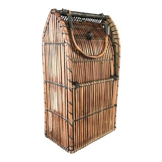 Vintage Bamboo/Rattan Basket For Sale