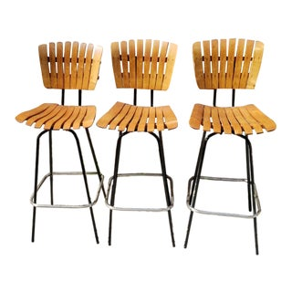Mid Century Modern Arthur Umanoff Slot Wood Swivel Bar Stools for Raymor- Set of 3 For Sale