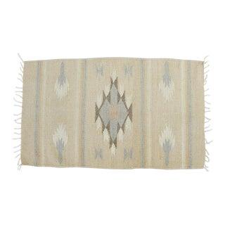 Vintage Southwestern Saddle Blanket Throw Rug Scatter Rug Pink Blue Neutrals For Sale