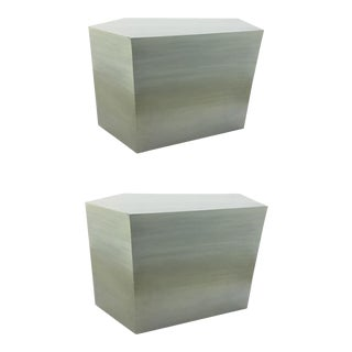 Modern Henredon Bilhuber k.r. Soft Sage Geometric Bunching Cocktail Tables - a Pair For Sale