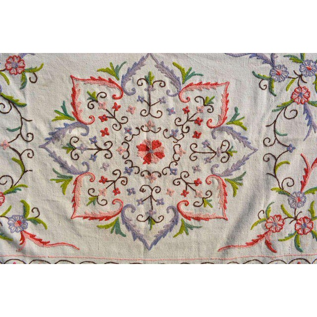 For your consideration, an antique vintage blanket wall tapestry. Unique pattern with white dominant color and splashes of...