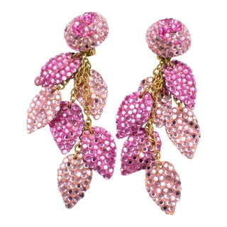 Richard Kerr Oversized Dangle Pink Jeweled Clip Earrings For Sale