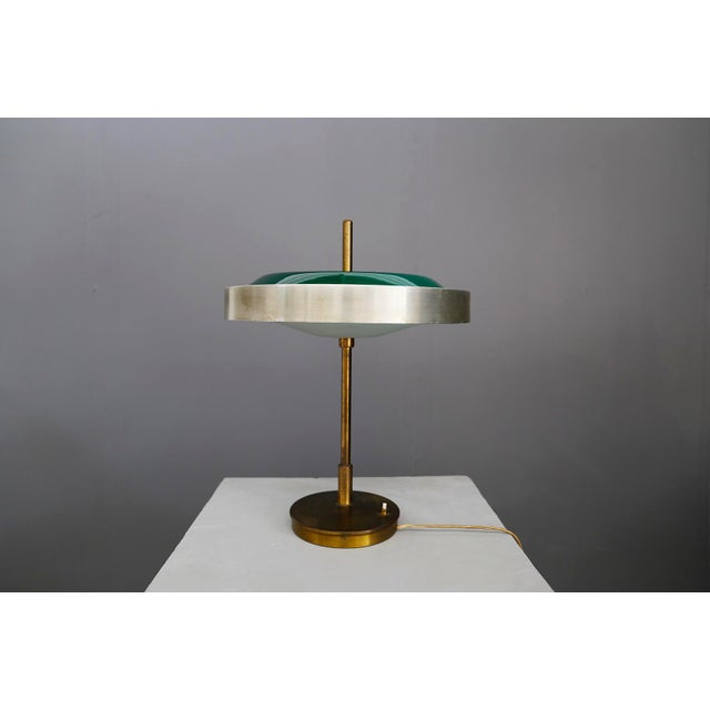 Oscar Torlasco MidCentury Table Lamp in Brass and Cased Glass by Lumi 1950s For Sale - Image 9 of 9