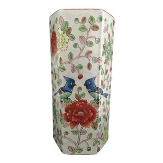 Asian 6-Sided Hand-Painted Porcelain Vase For Sale