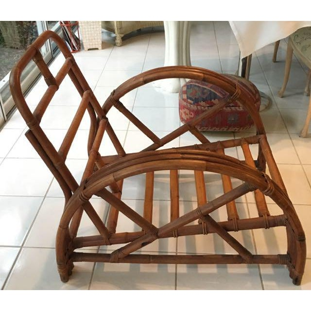 Vintage Mid Century Rattan Set Chairs & Loveseat For Sale - Image 4 of 13