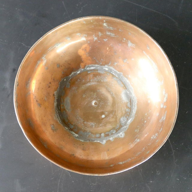 Turkish Antique Copper Ottoman Footed Bowl Hand Forged and Hand Chiseled For Sale - Image 12 of 13