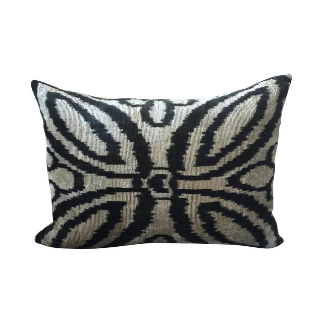 Vintage Silk Velvet Ikat Pillow - Image 1 of 3