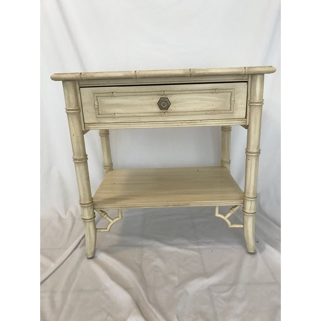 Light Yellow Vintage Thomasville Chinoiserie Hollywood Regency Nightstand For Sale - Image 8 of 8
