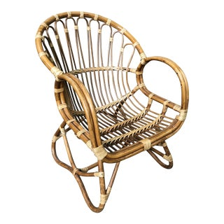 1970s Vintage Rattan and Cane Chair For Sale