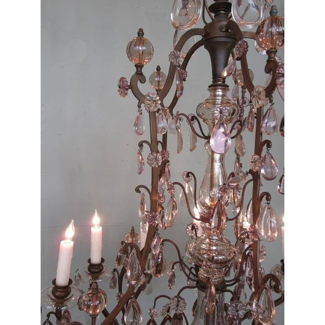 Early 20th C Italian Patinated Bronze, Crystal and Amethyst Chandelier For Sale - Image 9 of 9