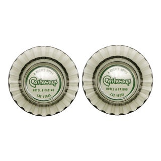 The Castaways Hotel Glass Ashtrays - a Pair For Sale