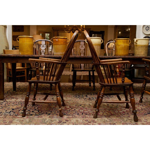 Set of Eight High-back Windsor Armchairs, English circa 1850 For Sale - Image 9 of 10