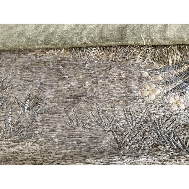 Antique Japanese Scenic Crane Bamboo Silk Hanging Wall Tapestry For Sale In Saint Louis - Image 6 of 11