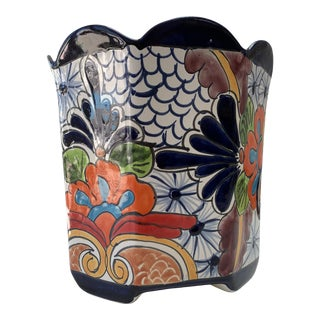 Mexican Hand Painted Planter For Sale