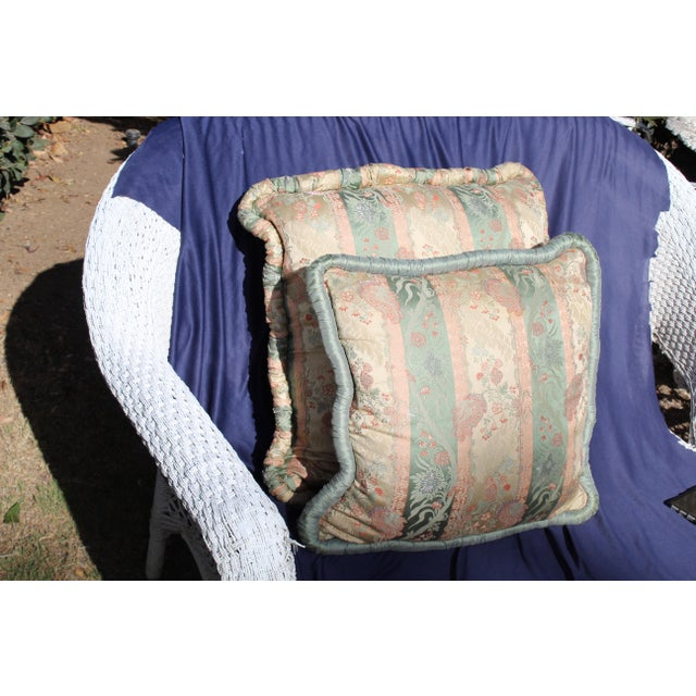 Pink 20th C. Two Difrernt Size of Possibly Italian Scalamandre Pillow For Sale - Image 8 of 10