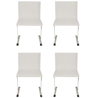 Set of 4 Italian Saporiti Stainless Steel and Upholstered Dining /DeskChairs For Sale