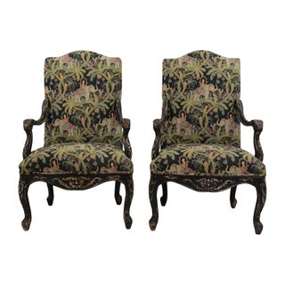Safari-Themed French Armchairs - Pair
