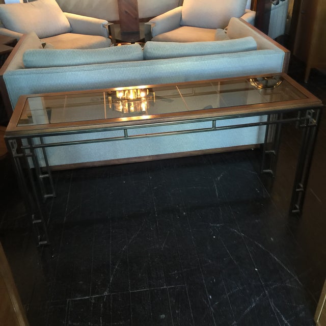 Midcentury Modern Brass Base Console Table - Image 3 of 9