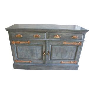 Antique Copper Strap Hinge Sideboard Buffet Server