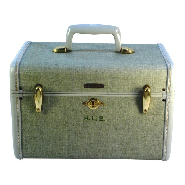 1970s Samsonite 5412 Train Suitcase, Grey Tweed For Sale