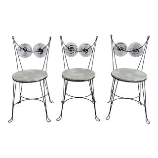 Mid Century Tony Paul Black Spiral Cafe Chairs- Set of 3 For Sale