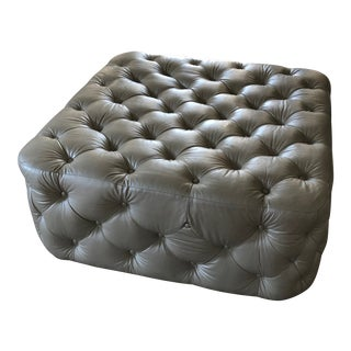 Mitchell Gold + Bob Williams Tufted Leather Ottoman For Sale