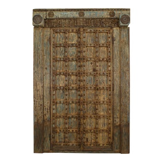 Asian Blue & White Distressed Painted and Carved Pair of Doors in a Frame For Sale