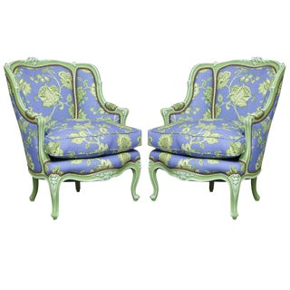 Painted Louis XV Bergeres - a Pair For Sale