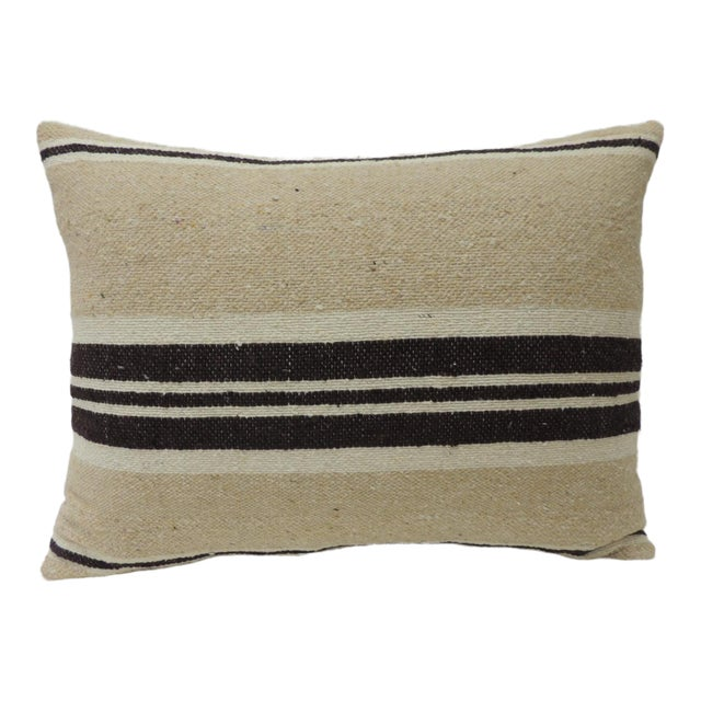 Vintage African Woven Tribal Artisanal Textile Decorative Bolster Pillow For Sale