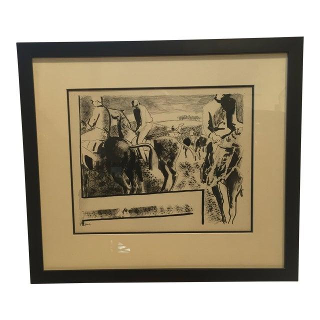 Paul Froelich Vintage Mid-Century Jockeys on Horses Pen & Ink Illustration For Sale