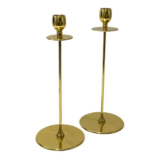 Art Deco 1930s Brass Candlesticks From England - a Pair For Sale