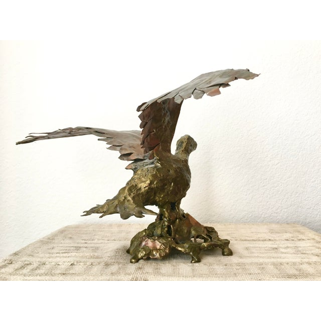 Brutalist Copper & Bronze Flying Bird Sculpture - Image 3 of 8