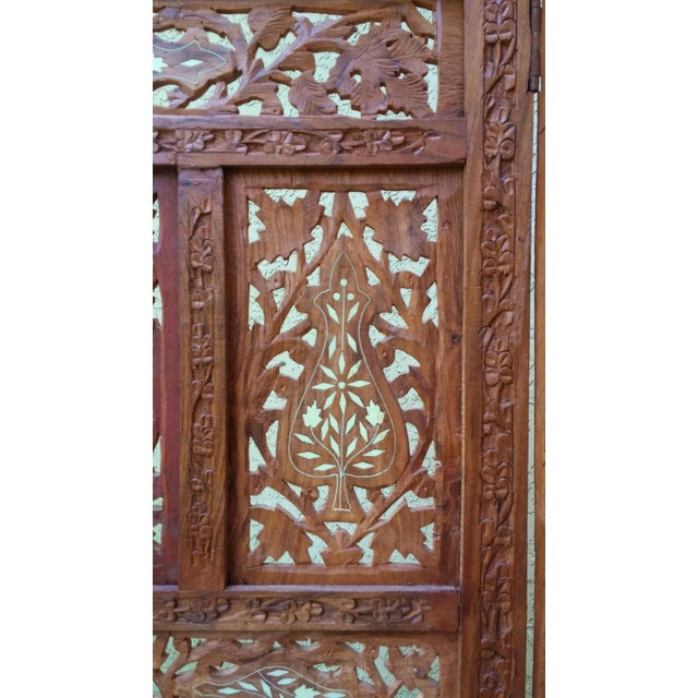 Carved Indian Screen with Brass Inlay For Sale In Tampa - Image 6 of 7