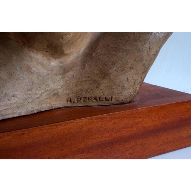 Clay Portrait of an Athlete Clay Sculpture by A. Perelli For Sale - Image 7 of 8