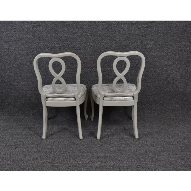 Canvas French Country Louis XV Style Dining Chairs- Set of 4 For Sale - Image 7 of 13