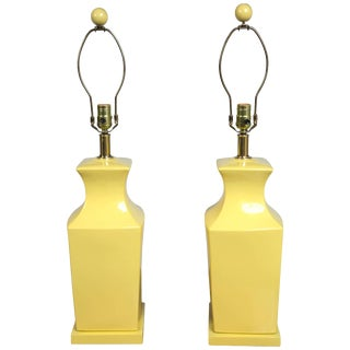 1970s Vintage Chinoiserie Style Yellow Pottery Lamps- a Pair For Sale