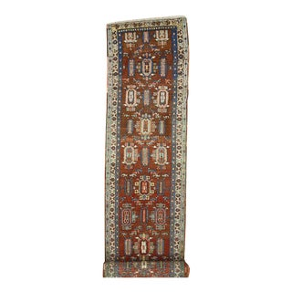 Antique Persian Heriz Carpet Runner with Mid-Century Modern Style