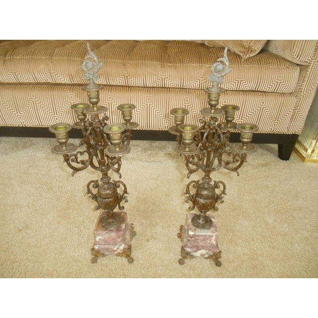 Antique Rose Italian Marble and Gilt Brass Candelabras - A Pair - Image 4 of 6