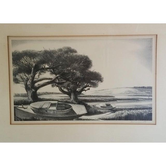 "Framed & Signed Print, ""Boats at Low Tide"" - Image 3 of 5"